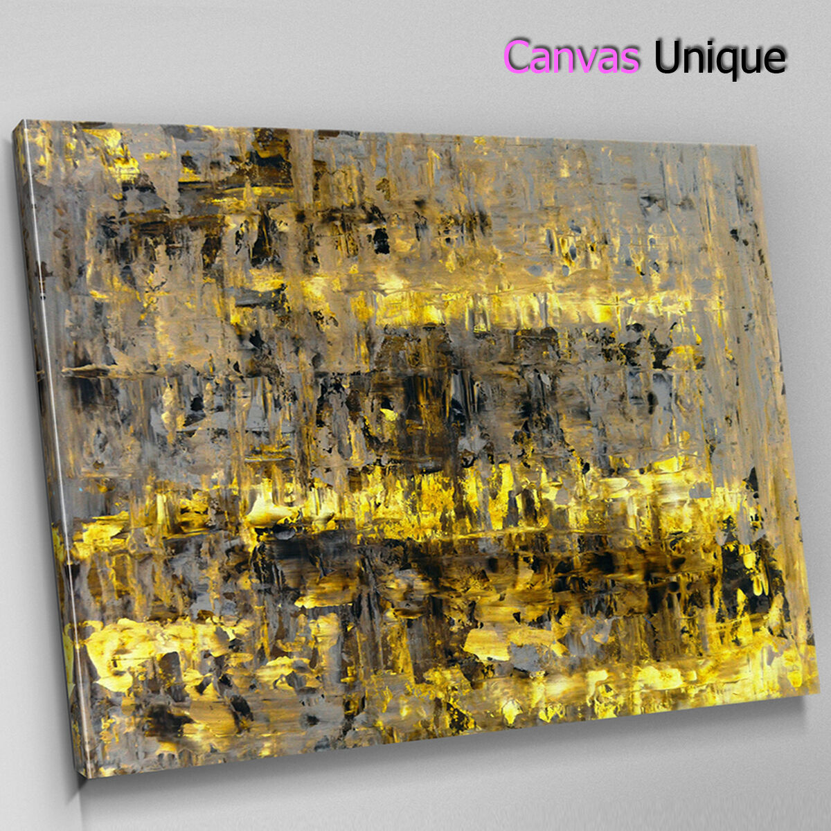 AB1581 Gelb grunge contemporary Abstract Canvas Wall Art Framed Picture Print