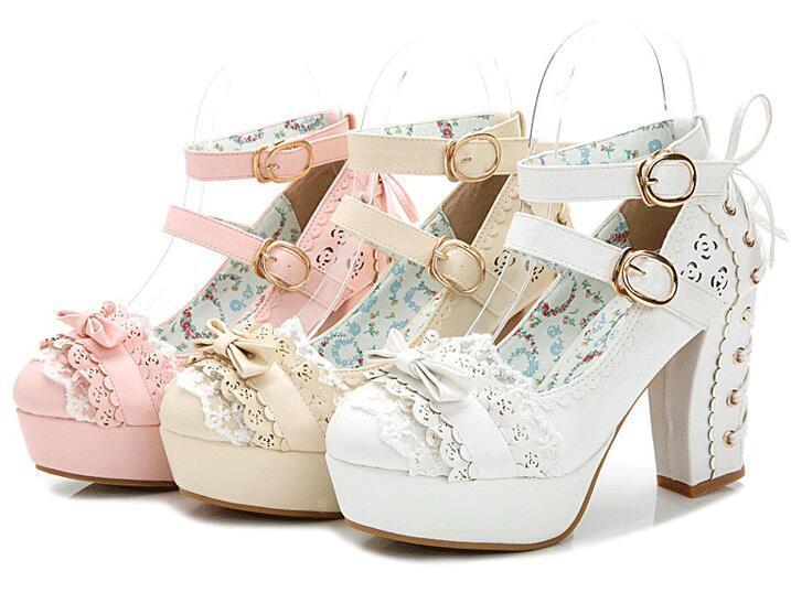 Femmes Lolita Esvoiturepins Bout Rond Talon Massif Bride Cheville Mary Janes Sweet Chaussures Fille