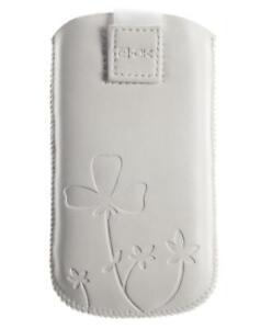 4-OK-UP-Blumen-Tasche-Etui-Schutz-Hulle-Case-Weiss-fur-LG-C300