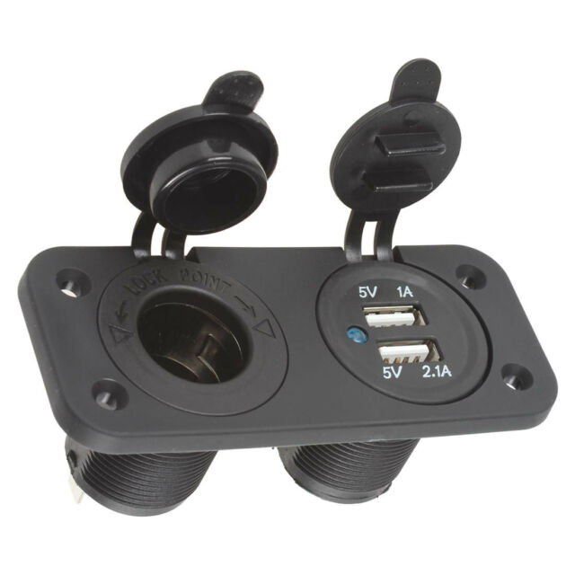 Waterproof 12V SUV Car Cigarette Lighter Dual USB Power Adapter Charger Outlet