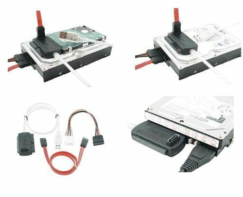 """USB 2.0 to SATA PATA IDE 2.5/"""" 3.5/"""" HDD SSD Hard Drive Adapter Transer Cable Kit"""