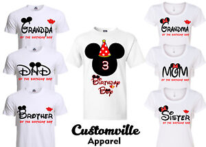acc8443b Birthday Boy Mickey Family Matching T-shirts. disney red Theme party ...