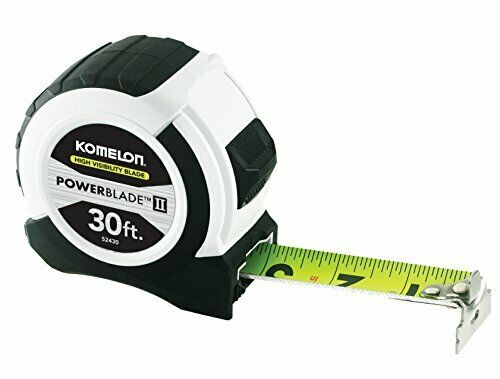 "Black//White ABS Case Komelon 52430; 30/' x 1.06/"" Powerblade II Tape Measure"