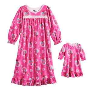 Size 8 NEW NWT Dreamworks Girls Pink /& Grey Nightgown and Doll Gown Set