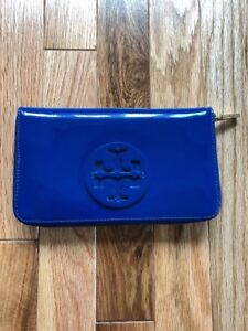 567286277 Image is loading TORY-BURCH-CONTINENTAL-ZIP-JELLY-BLUE-PATENT-LEATHER-
