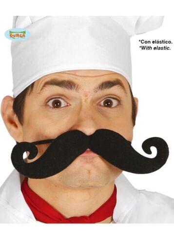 Large Funny Curly Black Fake Moustache on Elastic