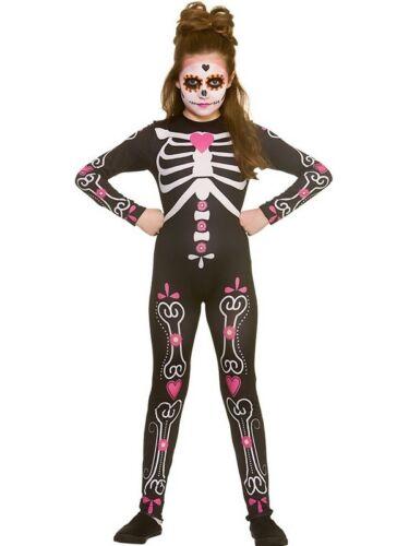 Le ragazze 5-13yr Candy Teschio Cutie giorno dei morti Costume Scheletro Costume Bambini
