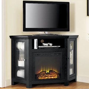 Electric Corner Fireplace Tv Stand Black Media Wood Console Heater