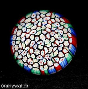 GENUINE-Vtg-MURANO-Paperweight-MILLEFIORI-Italian-ArT-GLaSs-Sommerso-LABEL