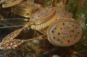 REDUCED-Antique-Apollo-Jeweled-Hand-Mirror-amp-Brush-Set-Quality-Heavy-Set-1920-039-s