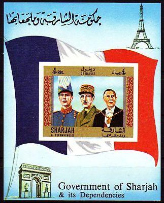 Mittlerer Osten Vereinigte Arabische Emirate Konstruktiv Sharjah 1970 ** Bl.65 Persönlichkeiten Personalities De Gaulle General Flagge
