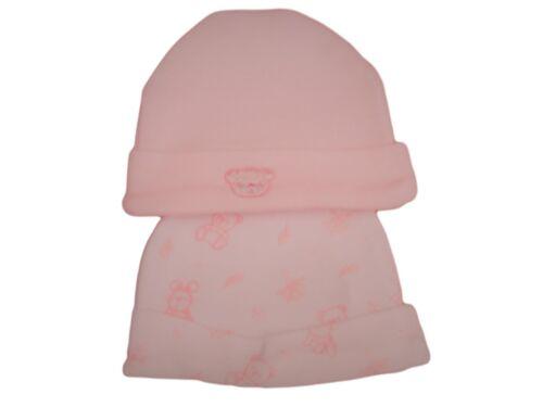 BNWT tiny baby prématuré Preemie rose ou en coton bleu TEDDY BEAR Chapeaux