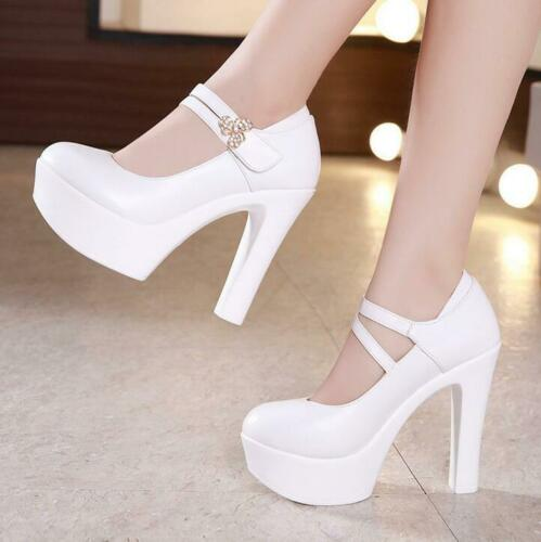 Ladies Womens Super High Heel Ankle Strap Chunky Pumps Platform Shoes Size New
