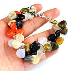330.00 Cts Naturel Multicolore Multi Gemme Poire Perles Bracelet Nk - 11mj4-afficher Le Titre D'origine Sang Nourrissant Et Esprit RéGulateur