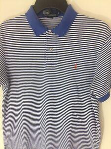 Ralph-Lauren-Polo-Medium-Mens-Blue-Stripe-Pique-Cotton-Shirt-Pony-Logo
