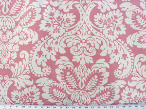 Details About Drapery Upholstery Fabric Ivory Large Scale Floral Print On Rose Pink Slub Duck