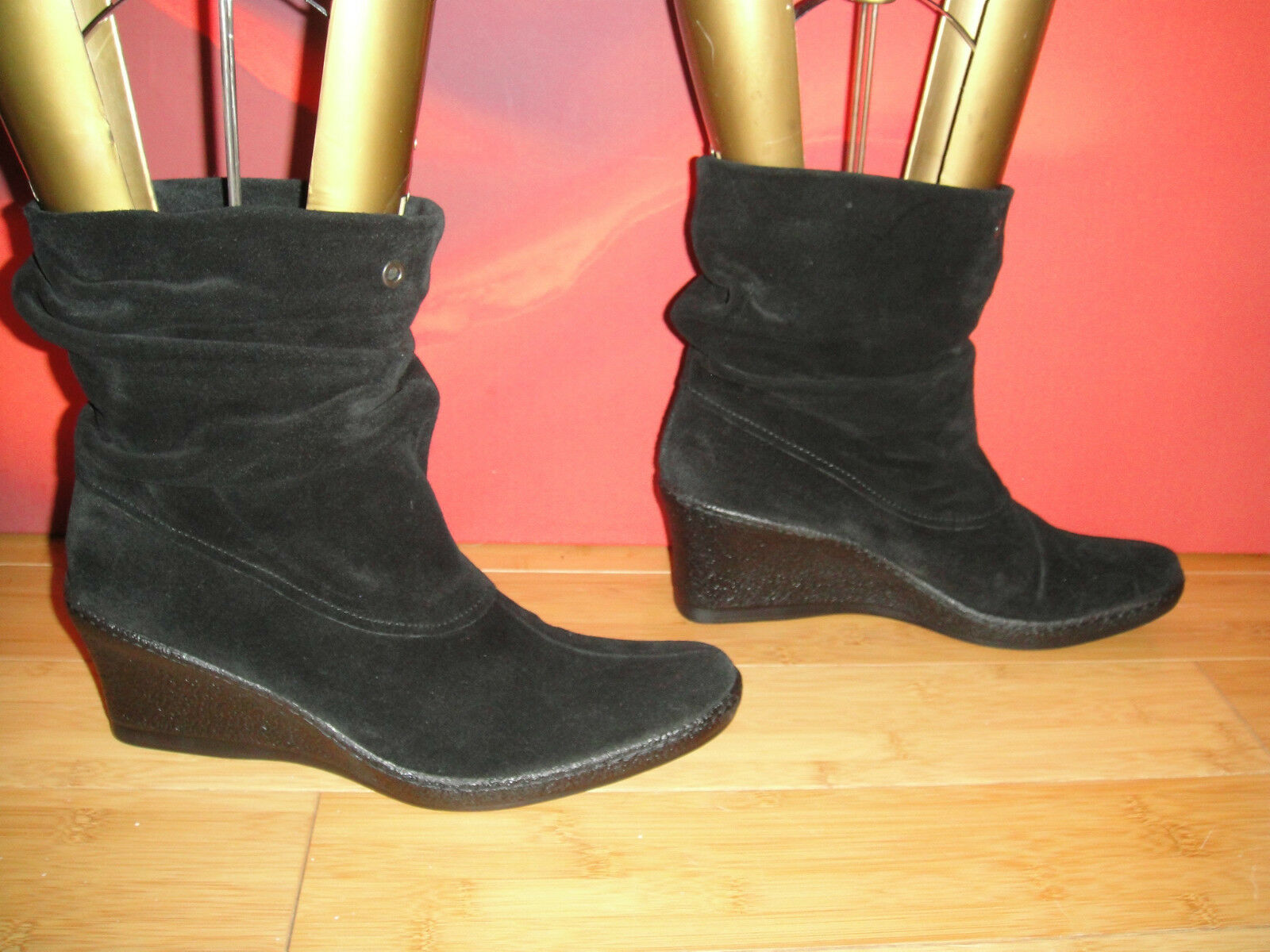 62 SUPERB  BLACK LEATHER SUEDE ANKLE WEDGE SLOUCH BOOTS EU 41