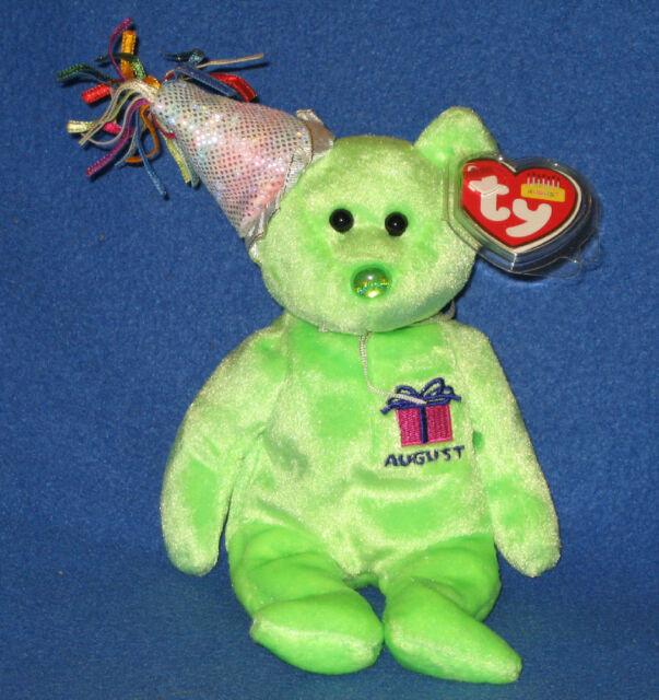 August Birthday Peridot Birthstone 2002 Ty Beanie Babie 8in Bear 3 up 4547 4bfe4e54fb03