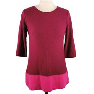 White-Stuff-10-Red-Pink-1-2-Sleeve-Lambswool-Cashmere-Blend-Round-Neck-Jumper