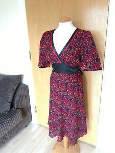 Ladies-Dress-Size-14-Black-Red-Kimono-Style-Smart-Party-Evening-Wedding