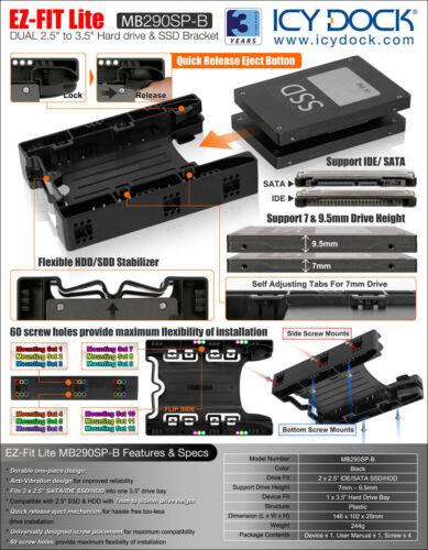 "HDD Mounting Kit Bracket New ICY Dock EZ-Fit Lite MB290SP-B Dual 2.5/"" SSD"
