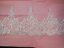 naturweiss mit silber band pailletten spitze rand Braut Hochzeit tüll borte