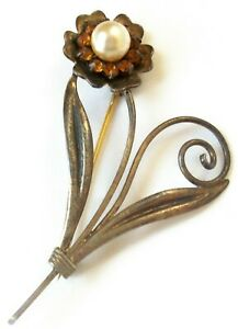 Mid-Century-Gold-Vermeil-Sterling-Floral-Leaf-Pin-or-Brooch-Faux-Pearl-Amber