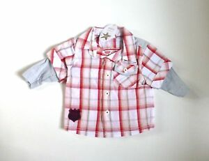 5d797195f8917b Baby Boy s Double Layer Effect Checked Shirt with Embroidered Design ...