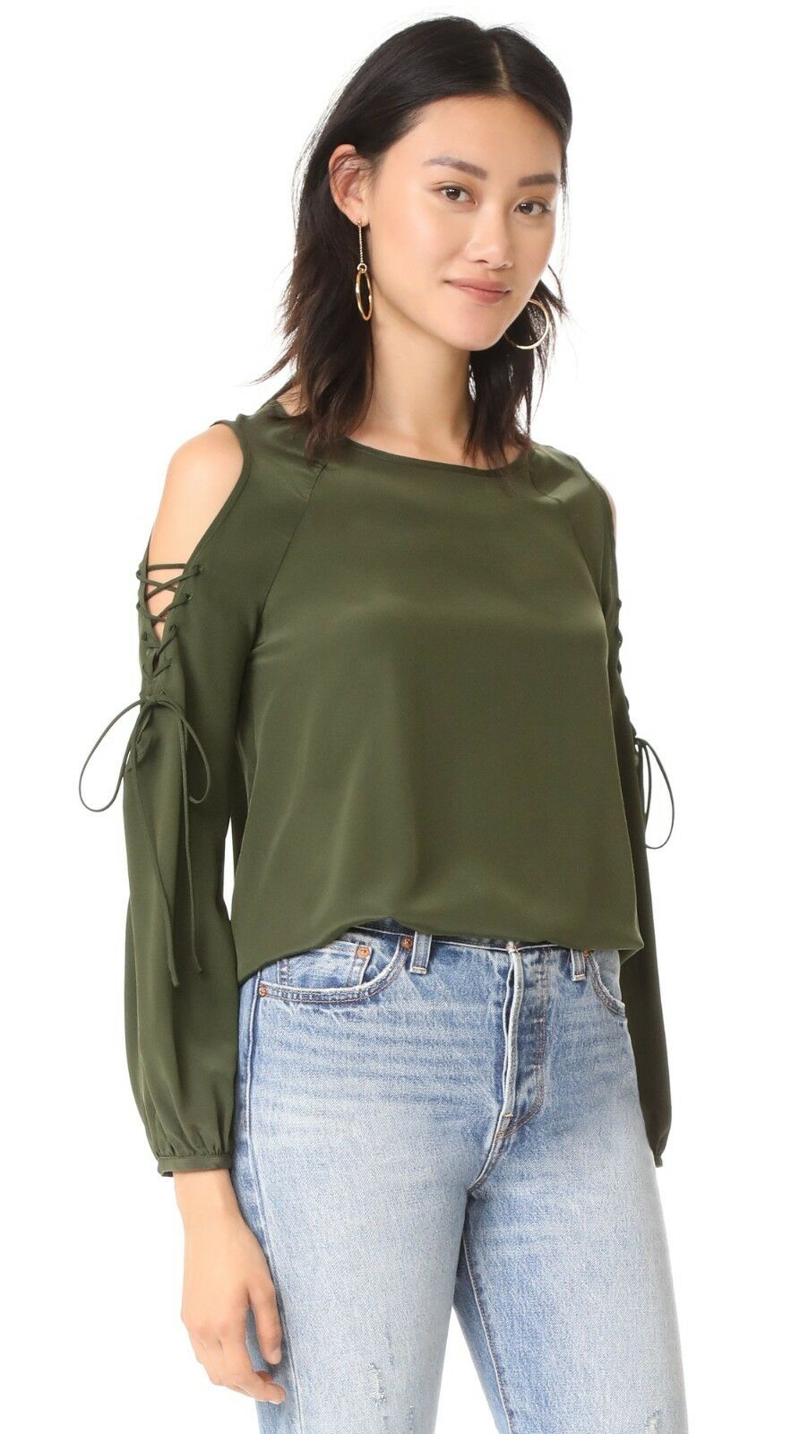 Amanda Uprichard Gibson Long Braided Cut Out Sleeve Blouse Top P NWT 194  OLIVE