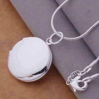 New Cute Unisex Sterling Silver Plated Round LOCKET Photo Charm Pendant Necklace