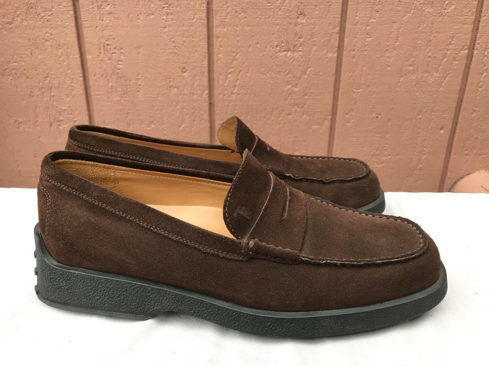 MINT Tod's Men's US 9.5 Penny Loafer Driving Moc Brown Suede Fashion Shoes A1