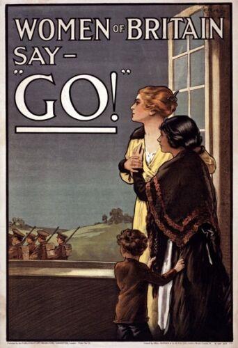 W91 Vintage WWI Woman Of Briton Say Go British Army War Poster WW1 A1//A2//A3//A4