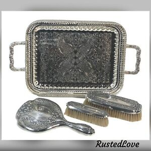 Antique-Sterling-Dresser-Set-Mirror-Brushes-Silver-plated-Vanity-tray-Monogramed