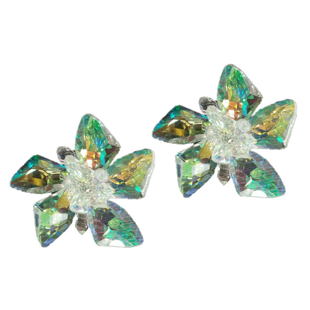 Pair of Artificial Rhinestone Shoe Clips with 5 Petal Crystals