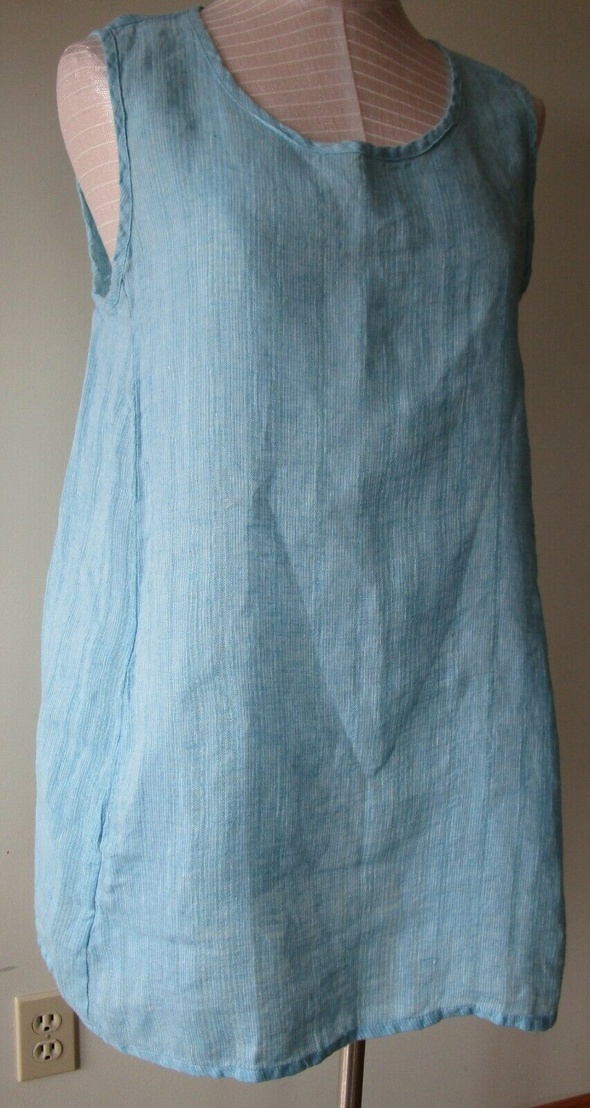 FLAX  Designs  Linen Side Pocket  Tunic   2G  &  3G   NWOT   AQUA  WAVE