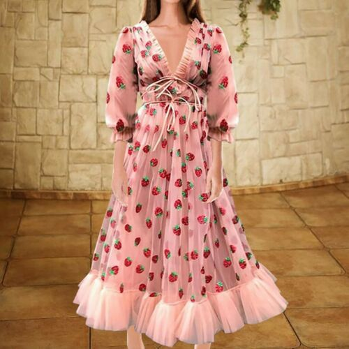 Women Sequins Strawberry Long Puff Sleeve Dress V Neck Mesh Party Prom Ball Gown