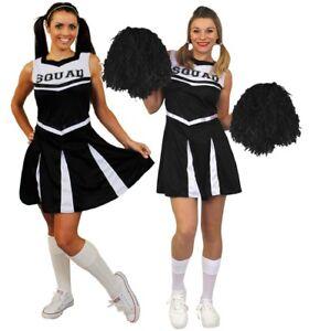 Schwarzes Cheerleader Kostum Party Fasching Karneval Puschel Pom Pom