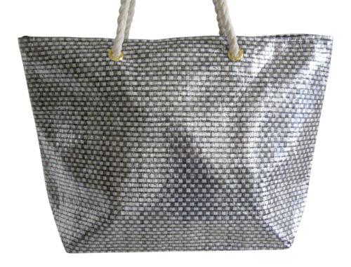 Lorenz Holiday Beach Bag Beachbag Pool Large Metallic Effect Woven Gold Silver