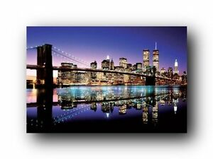 Brooklyn Bridge Abstract New York  Panorama Canvas Wall Art Picture Home Decor
