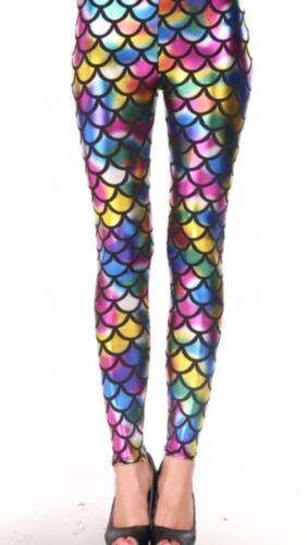 Ladies Mermaid Fish Scale Legging Women Slim Fit Shiny Disco Metallic Leggings
