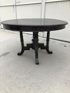 Details About Antique Round Walnut Dining Table