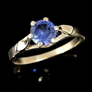 VINTAGE-BEAUTY-Solid-9K-375-Yellow-Gold-Claw-Set-Cornflower-Blue-Sapphire-Ring