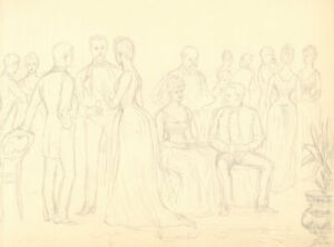Harry B. Tansley - Late 19th Century Graphite Drawing, Society Scene