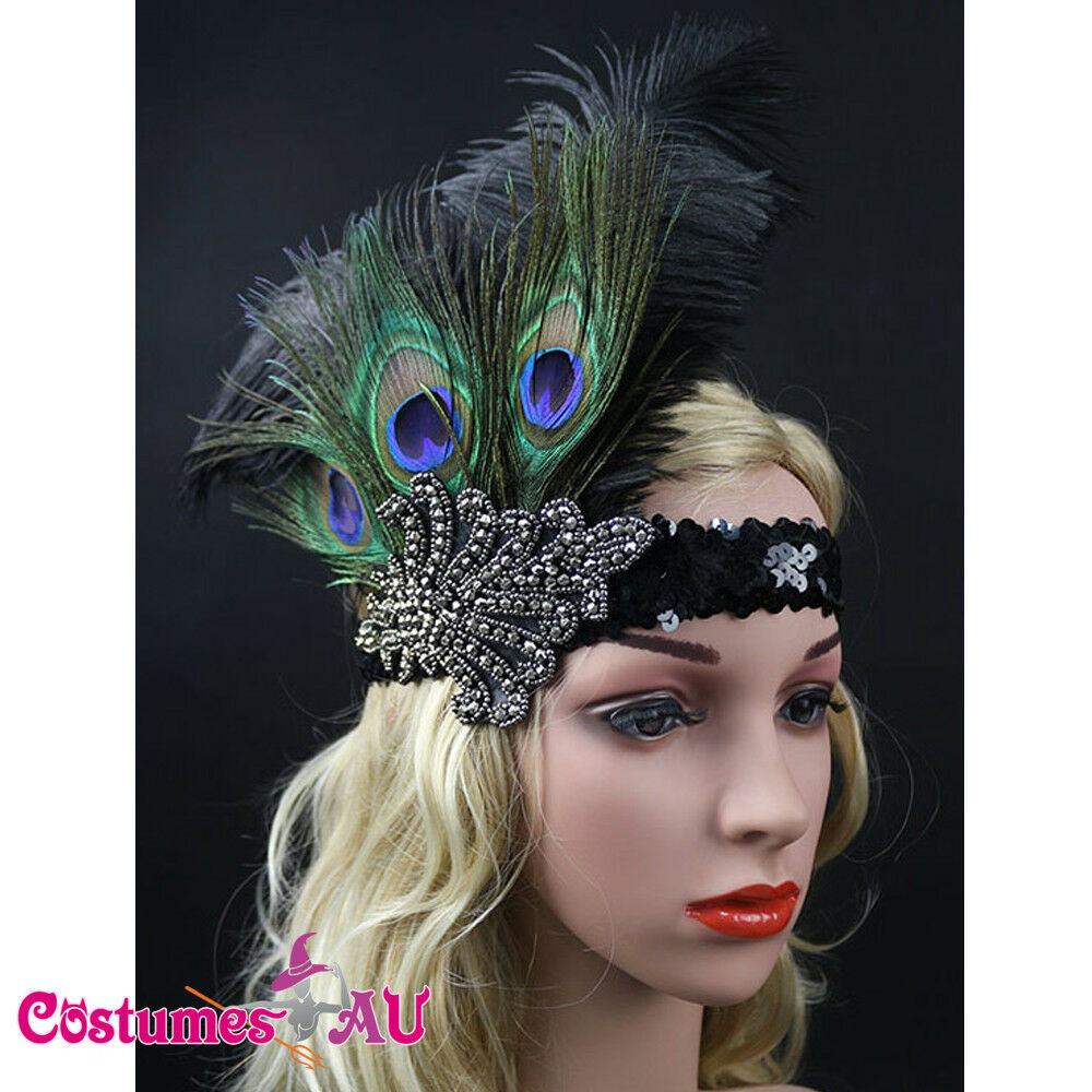 20s Headband Peacock Feather 1920s 20's Great Gatsby Flapper Gangster Headpiece
