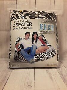 """Bean Bag Factory Zebra Velvet 2-Seater Bean Bag Chair """"COVER ONLY"""" Black & White"""