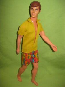 Barbie-VINTAGE-1970-Good-Lookin-039-KEN-Bendable-Leg-DOLL-in-MOD-Swimsuit-OUTFIT