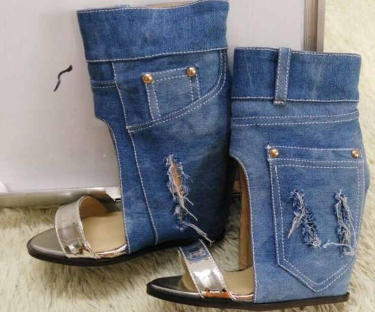Plus Size Women's Denim Hidden Wedge Wedge Wedge Heels Open Toe Sandals Boots Fashion shoes ef2583
