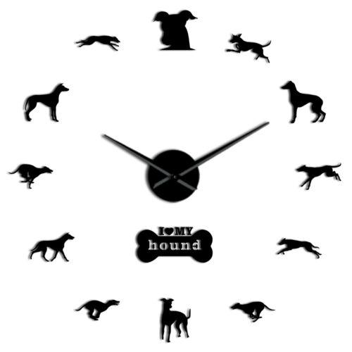Exclusive Greyhound Adoption Whippet Dog DIY Oversized Frameless Wall Clock