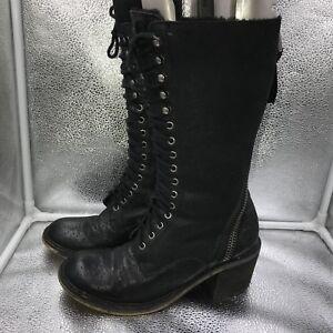 Edelman Laced Steampunk Sz Boots Black 6 Victorian Womens Leather Sam 39 Dupree C7dq7