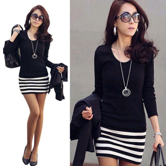 Fashion Slim Fit Womens Ladies Girls Casual Long Sleeve Stripe Party Mini Dress